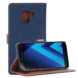 Jeans Cloth Wallet PU Leather Stand Phone Case for Samsung Galaxy A8 (2018) - Dark Blue
