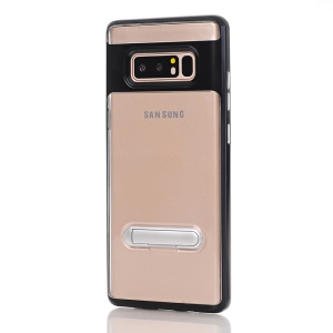 Clear Back PC + TPU Hybrid Phone Case with Kickstand for Samsung Galaxy Note 8 SM-N950 - Black