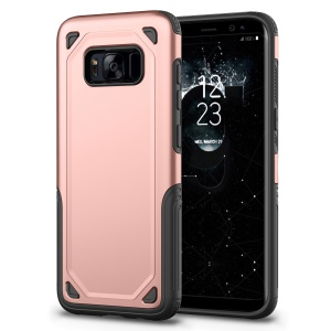 Rugged Armor PC + TPU Hybrid Case Protector for Samsung Galaxy S8 Plus SM-G955 - Rose Gold