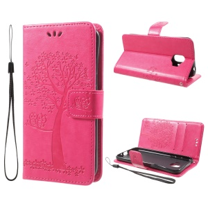 Imprint Tree Owl Magnetic Wallet Leather Phone Shell with Stand for Samsung Galaxy J2 Pro 2018 - Rose