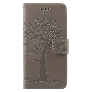 For Samsung Galaxy J2 Pro 2018 Imprint Tree Owl Magnetic Wallet Leather Flip Case - Grey