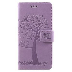 Imprint Tree Owl Magnetic Wallet Leather Folio Mobile Case for Samsung Galaxy J2 Pro 2018 - Light Purple