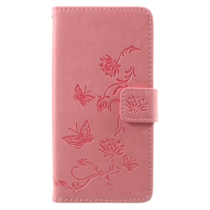 For Samsung Galaxy J2 Pro 2018 Imprint Butterfly Flowers Wallet Leather Protective Cover Case - Pink