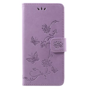 For Samsung Galaxy J2 Pro 2018 Imprint Butterfly Flowers Leather Wallet Stand Phone Case - Light Purple