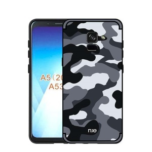 NXE Camouflage PC + TPU Hybrid Back Case for Samsung Galaxy A8 (2018) with Kickstand - Grey