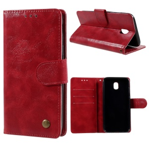 Premium Vintage Style PU Leather Wallet Stand Case for Samsung Galaxy J7 Pro (2017) / J7 (2017) EU Version - Red