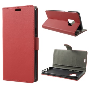 Flip PU Leather Stand Wallet Protective Case for Samsung Galaxy S9 - Red