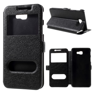 Silk Texture Dual Window Stand Leather Case for Samsung Galaxy On5 Pro (2018) - Black