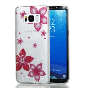 Clear IMD Glitter Powder Patterned TPU Phone Accessory Cover for Samsung Galaxy S8 G950 - Red Flower
