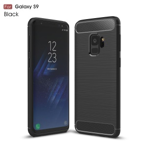 Carbon Fibre Brushed TPU Gel Case for Samsung Galaxy S9 - Black