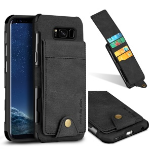 SHOUHUSHEN Leather Coated Vertical Flip PC TPU Hybrid Case with Card Slots for Samsung Galaxy S8 SM-G950 - Black
