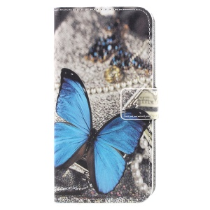 For Samsung Galaxy J2 Pro 2018 Wallet PU Leather Stand Phone Case - Blue Butterfly