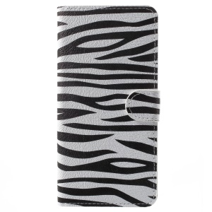 Pattern Printing Leather Magnetic Wallet Stand Folio Cell Phone Shell for Samsung Galaxy A8 (2018) - Zebra Texture