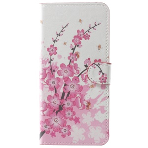 Pattern Printing Leather Magnetic Wallet Stand Folio Protective Case for Samsung Galaxy A8 (2018) - Peach Flower