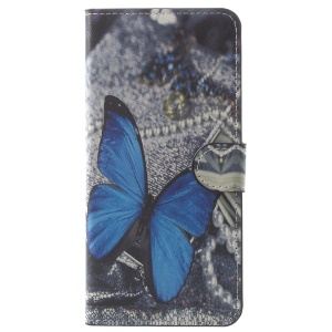 Pattern Printing Leather Magnetic Wallet Folio Case with Stand for Samsung Galaxy A8 (2018) - Blue Butterfly