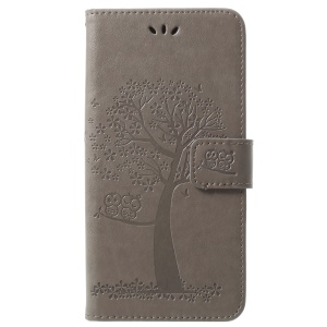 Imprint Tree Owl PU Leather Wallet Cover with Strap for Samsung Galaxy S9+ G965 - Grey