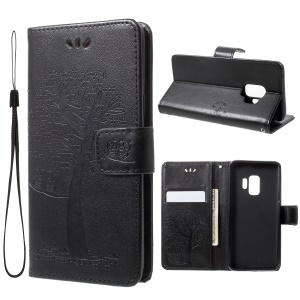 For Samsung Galaxy S9 G960 Imprint Tree Owl Wallet PU Leather Mobile Case with Lanyard - Black