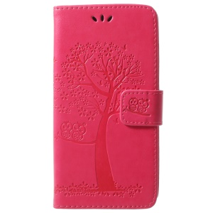 For Samsung Galaxy S9 G960 Imprint Tree Owl Wallet PU Leather Mobile Shell - Rose