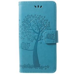 For Samsung Galaxy S9 Imprint Tree Owl Wallet Stand PU Leather Phone Cover - Blue