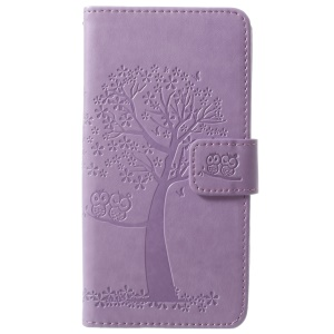 For Samsung Galaxy S9 Imprint Tree Owl Magnetic Leather Stand Case Accessory - Light Purple