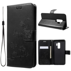 Imprinted Butterfly Flower Leather Wallet Case for Samsung Galaxy S9+ G965 - Black