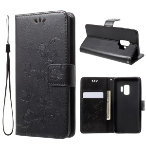 Imprint Butterfly Flowers Magnetic Wallet Leather Stand Cover for Samsung Galaxy S9 G960 - Black