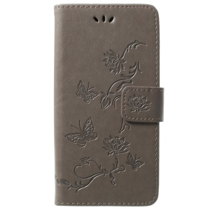 Imprint Butterfly Flowers Magnetic Wallet Leather Stand Case for Samsung Galaxy S9 G960 - Grey