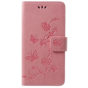 Imprint Butterfly Flowers Magnetic Wallet Leather Stand Casing for Samsung Galaxy S9 - Pink