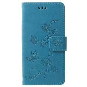 Imprint Butterfly Flowers Magnetic Wallet Leather Stand Cell Phone Cover for Samsung Galaxy S9 - Blue