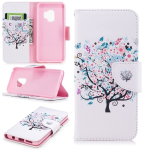 Pattern Printing PU Leather Card Holder Mobile Phone Cover Shell for Samsung Galaxy S9 G960 - Floret Tree