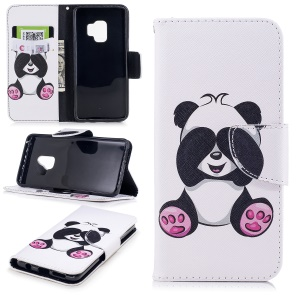 Pattern Printing PU Leather Magnetic Wallet Stand Mobile Phone Cover for Samsung Galaxy S9 - Cute Panda