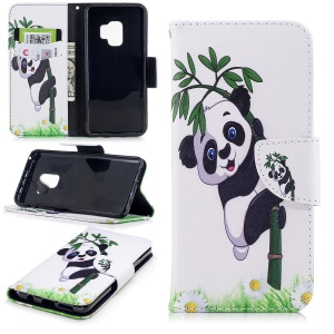 Pattern Printing PU Leather Magnetic Wallet Stand Protective Casing for Samsung Galaxy S9 - Panda on Bamboo
