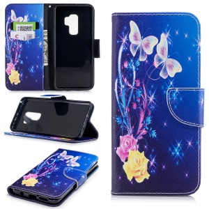 Pattern Printing Wallet Stand Leather Mobile Cover for Samsung Galaxy S9 Plus - Pretty Butterfly and Star