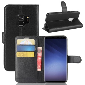 Litchi Skin PU Leather Wallet Stand Phone Shell for Samsung Galaxy S9 G960 - Black
