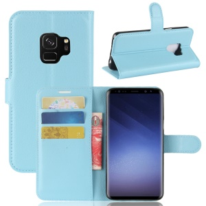 Litchi Skin PU Leather Wallet Stand Mobile Phone Cover for Samsung Galaxy S9 G960 - Blue