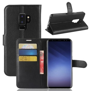 Litchi Skin Leather Wallet Case for Samsung Galaxy S9+ G965 - Black