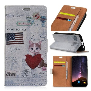 Pattern Printing PU Leather Wallet Case for Samsung Galaxy S9 Plus - American Flag and Cat Holding Heart