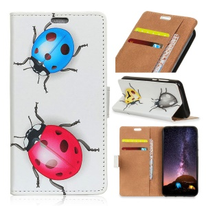 Pattern Printing PU Leather Wallet Case for Samsung Galaxy S9 Plus - Colorful Ladybirds