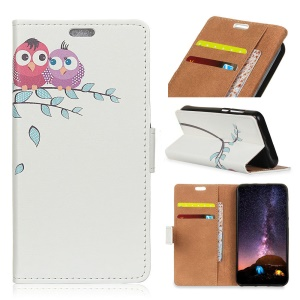 Pattern Printing PU Leather Wallet Case for Samsung Galaxy S9 Plus - Two Owls on the Branch
