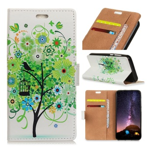 Pattern Printing PU Leather Wallet Case for Samsung Galaxy S9 Plus - Green Flower Tree