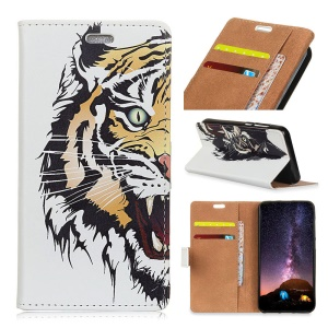 Pattern Printing PU Leather Wallet Case for Samsung Galaxy S9 Plus - Fierce Tiger