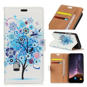 Pattern Printing PU Leather Wallet Case for Samsung Galaxy S9 Plus - Blue Flower Tree