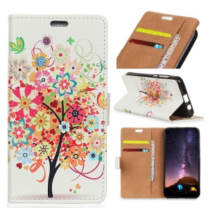 Pattern Printing PU Leather Wallet Case for Samsung Galaxy S9 Plus - Colorful Flower Tree
