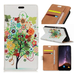 Pattern Printing PU Leather Wallet Case for Samsung Galaxy S9 Plus - Flower Tree