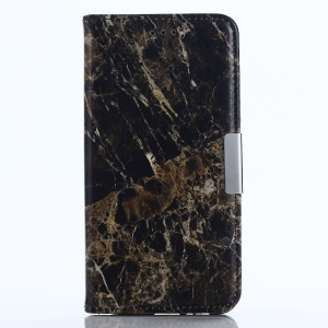 Marble Texture Wallet Stand Leather Mobile Case for Samsung Galaxy A8 (2018) - Black