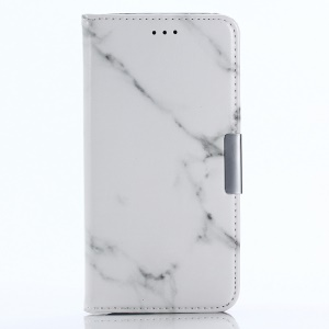 Marble Texture Wallet Stand Leather Mobile Cover for Samsung Galaxy A8 (2018) - White