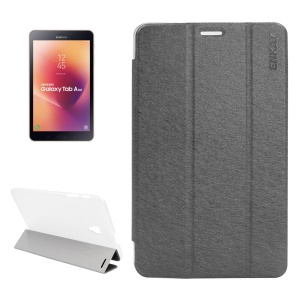 ENKAY Silk Texture Tri-fold Leather Smart Case with Stand for Samsung Galaxy Tab A 8.0 (2017) T380/T385 - Grey