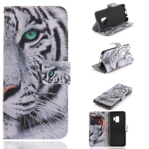 Patterned PU Leather Wallet Stand Protective Mobile Phone Shell for Samsung Galaxy S9 G960 - Tiger