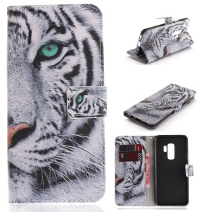 Patterned PU Leather Wallet Stand Protective Mobile Phone Cover for Samsung Galaxy S9+ - Tiger