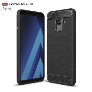 Carbon Fiber Texture Brushed Soft TPU Case for Samsung Galaxy A8 (2018) - Black